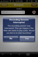 Interrupted Recording