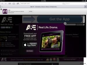 A&E Download App Popup